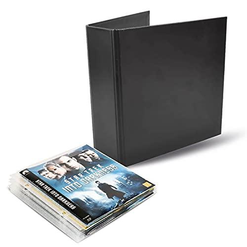 3L Blu-Ray Aufbewahrung - Kombipack mit 50 BluRay Hüllen & 2 Ringordner - Praktisch für Blu Ray Ordner / Sammelmappe - 10265