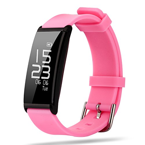 Reloj Inteligente,Reloj Smartwatch,Pulsera Inteligentes,Relojes Deportivos,Perseguidor de La Aptitud, Pulsera Elegante Frecuencia Cardíaca Presión Arterial Monitor de La Salud del Sueño (Rosa)