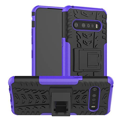 LiuShan Kompatibel mit LG V60 ThinQ Hülle, Dual Layer Hybrid Handyhülle Drop Resistance Handys Schutz Hülle mit LG V60 ThinQ 5G Smartphone (Nicht kompatibel mit LG V50),Lila