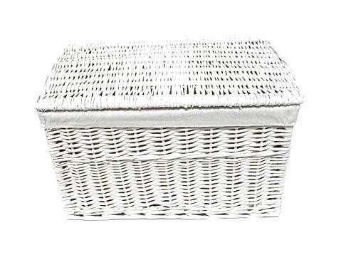 topfurnishing Grey Wicker Baby Nursery Storage Laundry Basket Toy Blanket Box Lined[Grey,Small 46x26x26cm]