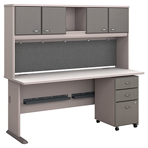 Bush Business Furniture Series A 72W Desk with Hutch and Mobile File Cabinet - Pewter/White Spectrum 72W X 27D X 66H ERGONOMICHOME BUSH BUSINESS FURNITURE