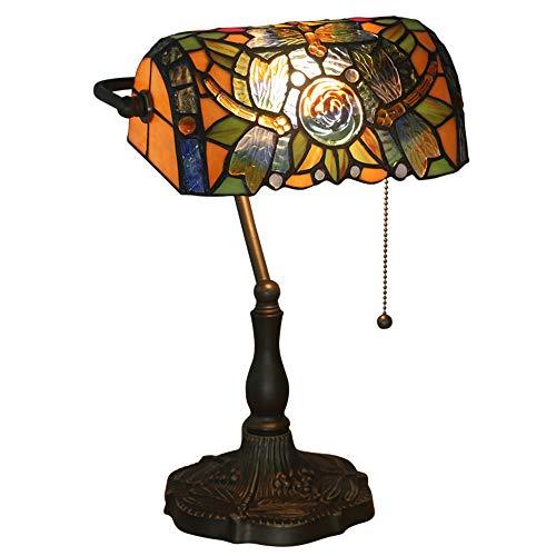 Piano - Lámpara de mesa clásica con cristal antiguo, aleación de cinc AC para exterior, estilo Tiffany Libellule Art Abat para dormitorio