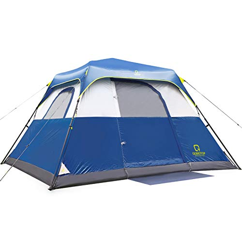QOMOTOP Camping Tent, 8 Person Instant Set Up Within 1 Minute Tent Equipped with Rainfly and Carry Bag, Water-Proof Tent Electric Cord Access, Cabin Style Tent, Blue