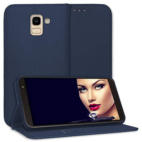 mtb more energy® Schutz-Tasche Bookstyle für Samsung Galaxy J6 2018 (SM-J600, 5.6'') - blau - Kunstleder - Klapp-Cover Hülle Wallet Hülle