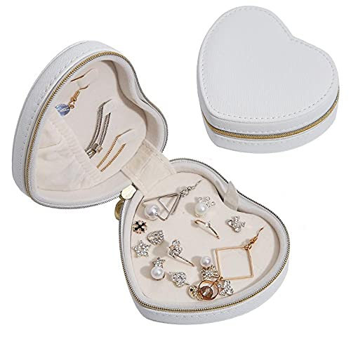 Caja Joyero en forma de corazón con cremallera Caja Organizadora de Joyas para mujeres niñas portátil de viaje pequeño Caja de Joyas para anillos pendientes collares pulserascolor blanco