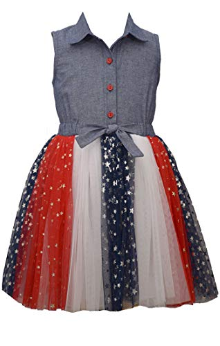 Bonnie Jean Girl's 4th of July Dress - Chambray Americana Tutu Dress (6)
