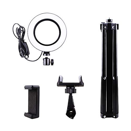 DelongKe Led-ringverlichtingsset, dimbare standaard met statief en telefoonhouder voor camera, smartphone, YouTube, zelfportretopname
