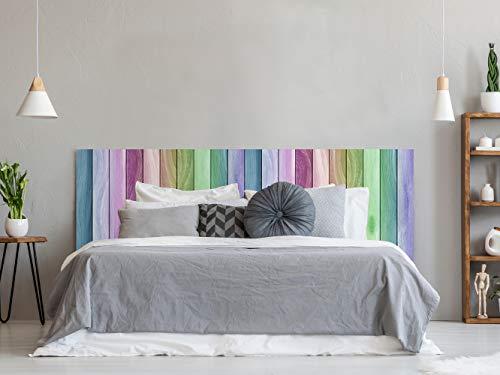 Cabecero Cama PVC Textura Madera Arcoiris 100x60cm | Disponible en Varias Medidas | Cabecero Ligero, Elegante, Resistente y Económico