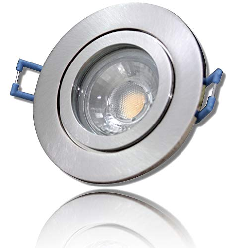 5Watt Power LED Badezimmer Einbaustrahler Nautilus 230Volt Deckenleuchte - IP44 - LED Warm-Weiß Farbe: Matt-Chrom - Für Bad Dusche und Aussenbereich.