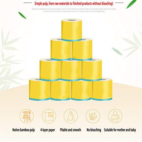 Natürliches Bambuszellstoff, Hohlrolle Seidenpapier, 4 Schichten Verdickt, Nicht Fluoreszierendes Hygienerollenpapier, 12 Rollen