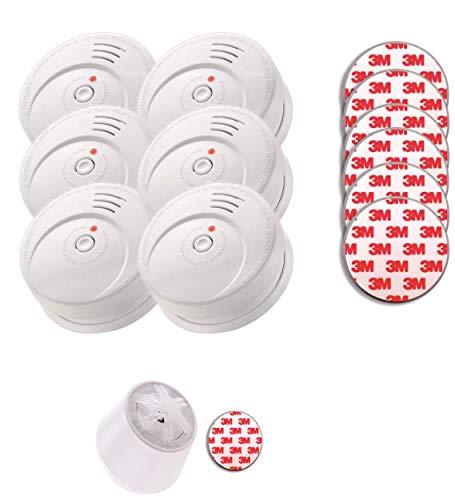 Jeising Sicherheits Set GS506 G 6er Set Rauchmelder/Brandmelder/ 10 Jahre Lithium Batterie KRIWAN zertifiziert EN14604 + Hitzemelder GS403 + Magnetpad Magnetbefestigung für alle Melder