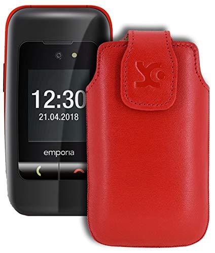 Suncase Original Tasche für Emporia One Hülle Leder Etui Handytasche Ledertasche Schutzhülle Hülle in rot