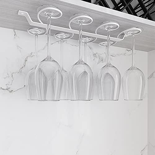 NWB Soporte para Copas de Vino Debajo del Gabinete,Estante de Almacenamiento- Estante para Copas de Vino Colgante para 8/10/12 Vasos,para Barra de Cocina