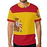 DEZIRO - Camiseta de manga corta para hombre, diseño de bandera de España
