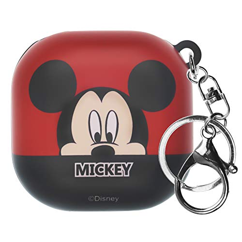Disney Compatible with Galaxy Buds Pro Case (2021) / Galaxy Buds Live Case (2020) Key Ring Keychain Key Holder Hard PC Shell Cover - Half Face Mickey Mouse