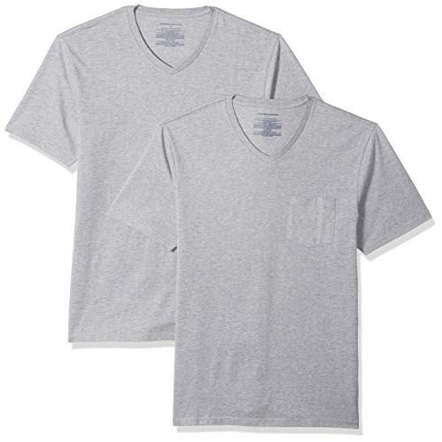 Amazon Essentials Herren T-Shirt, schmale Passform, V-Ausschnitt, 2er-Pack, Grau (Heather Grey Hea), US S (EU S)