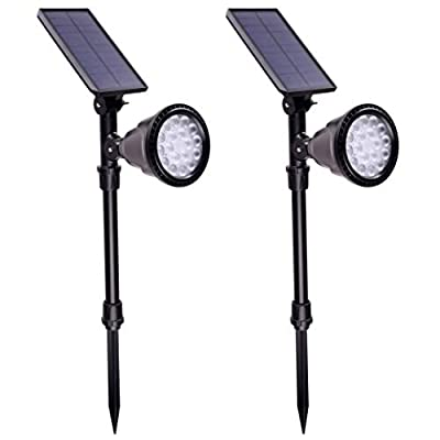isunmoon Upgraded Version Landscape Spotlights Waterproof Outdoor 18 LED Solar Lights Auto On/Off for Fence Roof Gutter Garden Yard Driveway Pathway Pool Wall Lamp