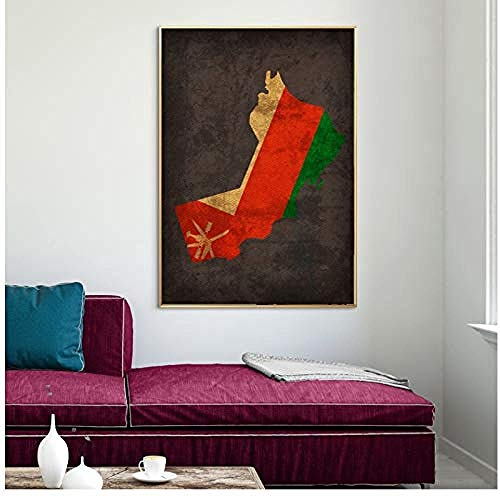 Canvas print,Country Flag Maps Poster Oman Country Flag Map Home Decor Wall Art Decor-40x60cm