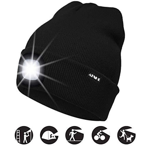 ATNKE Gorra de Goma con luz LED, USB Recargable Running Hat