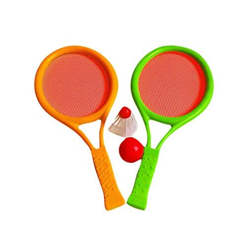 NUOBESTY Badminton Tennis Rackets,Plastic Rackets Balls Set for Kids Outdoor Garden Beach Game Toy,1 Set(Random Color)