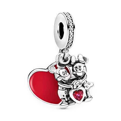 LaMenars Disney Mickey & Minnie Mouse Love Charm se adapta a pulseras Pandora 925 cuentas de plata para mujer, collares colgantes para el día de la madre, cumpleaños, regalo de Navidad