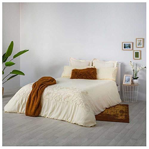 COTTON ARTean Funda Nordica Bordada ASCAIN Cama de 150 PERCAL ALGODÓN 100%. Color Beige Natural.