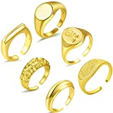 MOZAKA 6Pcs Chunky Dome Rings for Women Gold Thick Ring Open Adjustable Statement Ring Set
