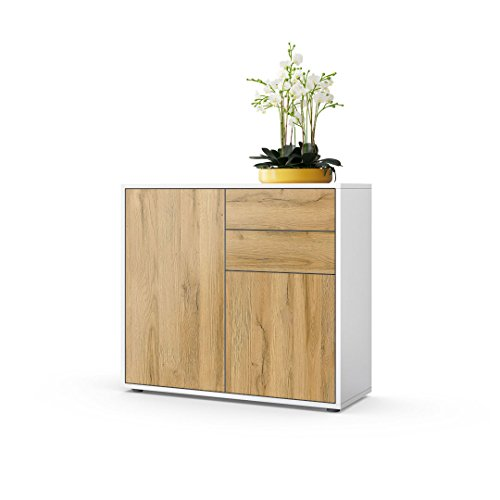 Vladon Kommode Sideboard Ben, Korpus in Weiß matt/Fronten in Eiche Nature