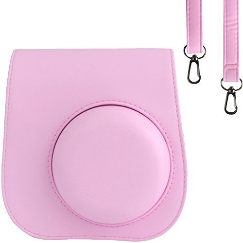 SAIKA Tasche für Fujifilm Instax Mini 8/Mini 9 Sofortbildkamera - Premium Kunstleder Schutzhülle Reise Kameratasche Hülle Abdeckung mit Abnehmbaren Riemen, Rosa