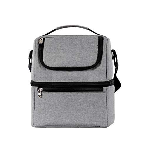 AAGOOD Lunch Bag Oxford Isolierte Bento Tasche Leakproof Prep Mahlzeit Halter Double Layer Picknick Kühltasche Grau Familie Wichtiger Versorgungs