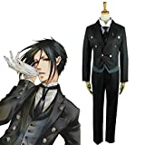 N-B Black Butler Kuroshitsuji Housekeeper Cosplay Sebastian Michaelis Disfraz Conjunto Completo Uniforme Unisex Traje de Ropa de Halloween
