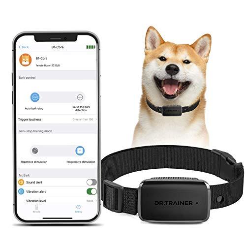 Dr.Trainer B1 Bark Collar with Smartphone APP, Anti Barking Training Collar Smart Progressive Mode, Humane Excessive Barking Corrector, Stop Barking Collar for Small Medium Large Dogs (No Shock)