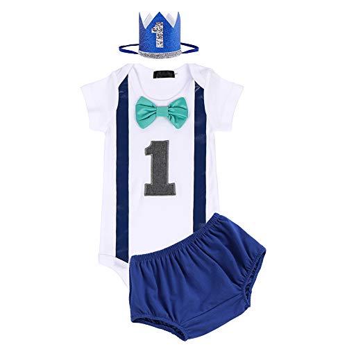 FYMNSI Conjunto de 3 piezas para bebé de 1 año, de algodón, con pajarita de manga corta, pelele + pantalones cortos + corona para la cabeza, disfraz para sesiones de fotos Azul real 02. 1 Años