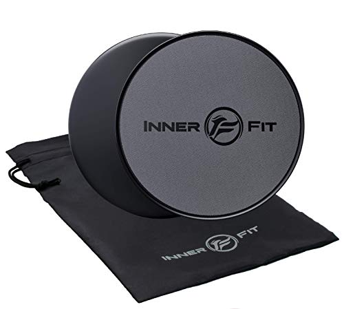 InnerFit Core Sliders for Working Out - Set of 2 Dual Sided Exercise Sliders Fitness Discs - Durable Strength Slides Suitable for Carpets and Hardwood Floors (Black & Grey)