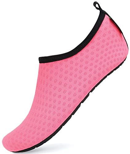 SAGUARO® Barefoot Aqua Water Beach buty basenowe siatkowe skóra skarpetki lekkie chodzenie mokre buty dla dzieci chłopców dziewcząt, - Różowa siatka - 24/25 EU
