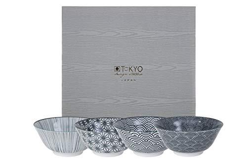 TOKYO design studio Nippon Black 4-er Schalen-Set, Ø 15 cm, ca. 500 ml, asiatisches Porzellan, Japanisches Design mit schwarzen Mustern, inkl. Geschenk-Verpackung
