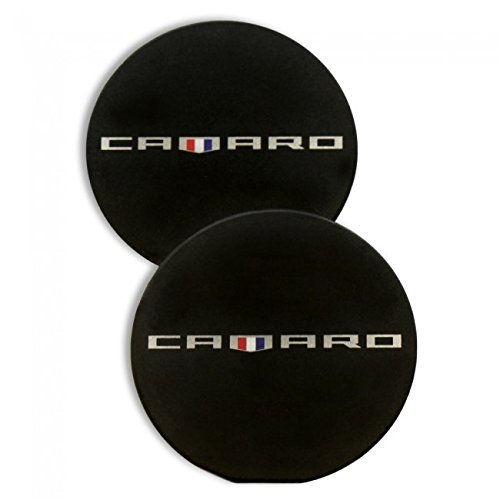 Camaro 6th Gen Heritage Logo Car Cup Holder Inserts - Black - Set of 2