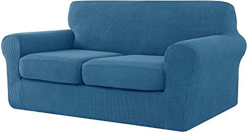 CHUN YI Jacquard - Funda de sofá extensible con funda de cojín de asiento separada, spandex extensible, protector de muebles (3 plazas, azul vaquero)