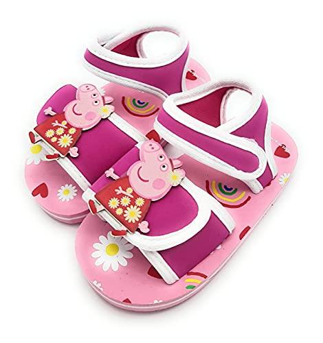 Sandalias niña verano Peppa Pig chanclas con velcro para Playa y Piscina (numeric_24)