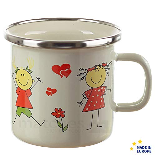 matches21 Kleiner Email Trinkbecher Becher für Kinder Mädchen/Emaille Kindergeschirr Kindermotiv 7 x 7 cm / 200 ml