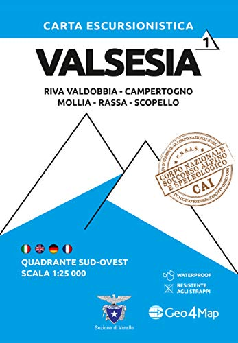Carta escursionistica Valsesia. Riva Valdobbia, Campertogno, Mollia, Rassa, Scopello. Quadrante sud-ovest 1:25.000