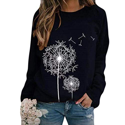 Yowablo Tunika Tops Damen Langarm Herbst Rundhalsausschnitt Casual Loose Shirt Bluse Pullover Bluse Tops Langarm Sweatshirt Frauen Mode Löwenzahn O-Neck Print ( XL,5Marine )