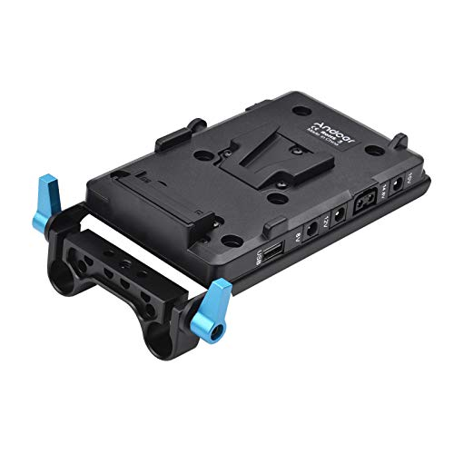 Andoer V Mount Battery Plate with LP-E6 Battery Adapter and 15mm Rod Clamp compatible with Sony V-Mount Battery for Canon 5D2 5D3 60D 7D 6D DSLR Rig for BMCC BMPC