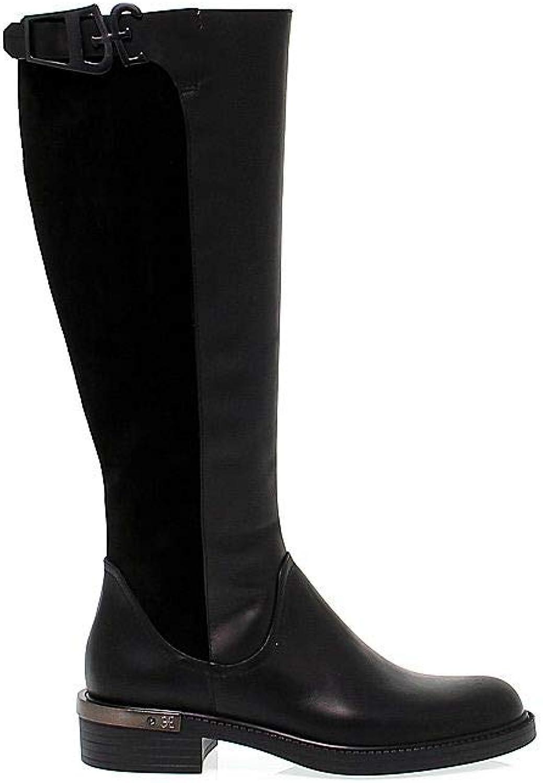 Fabi Damen 3758schwarz Schwarz Leder Stiefel