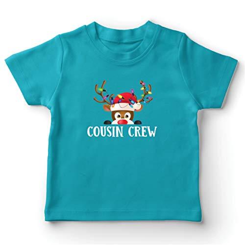 lepni.me Camiseta para Niño/Niña Un Primo de la pandilla se Divierte con los Renos en Navidad (7-8 Years Azul Claro Multicolor)