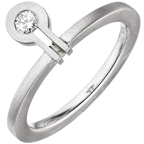 Ring aus 950 Platin mattiert mit Diamant Brillant 0,07ct. Platinring Damen, Ringgröße:Innenumfang 54mm ~ Ø17.2mm