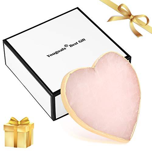 Yougoals - Posavasos de cristal de cuarzo rosa con ágata rosa para bebidas, posavasos con piedras preciosas, posavasos de mármol natural, posavasos de oro rosa, decoración para el día de San Valentín, regalos de boda (rosa, 1)