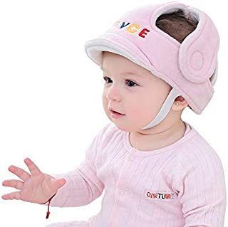 Baby Adjustable Safety Helmet Infant Head Protector Breathable Headguard for Toddlers Learn to Walk(Pink)