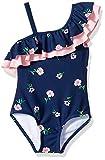 Kanu Surf Girls' Morgan Floral Ruffle One-Shoulder 1-Piece Swimsuit, Navy, 8