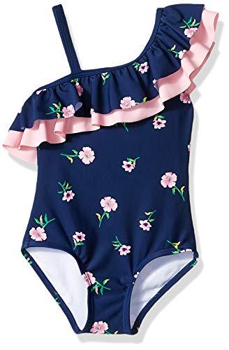 Kanu Surf Mädchen Morgan Floral Ruffle One-Shoulder 1-Piece Swimsuit Einteiliger Badeanzug, Navy, 6X